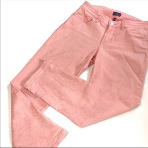 NYDJ ankle coral pink paisley stretchy jeans 2P